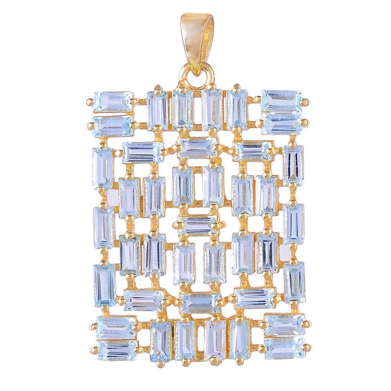 Solid Sterling Silver Gold plated and Black finish /& White Finish dogtas pendant with Natural Blue Topaz Baguette Pendant price for 1 pcs.