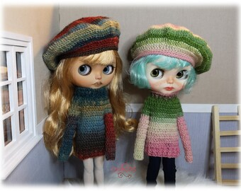 Conjunto boina y jersey crochet hecho a mano para Blythe 806275b1fdc