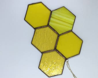 Stained Glass Yellow Honeycomb