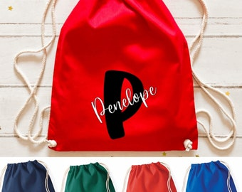 Choose from 10 colours and 4 animals Personalised Animal Drawstring PE Bag ideal for Nursery Pram Bag Childminder 100/% Cotton