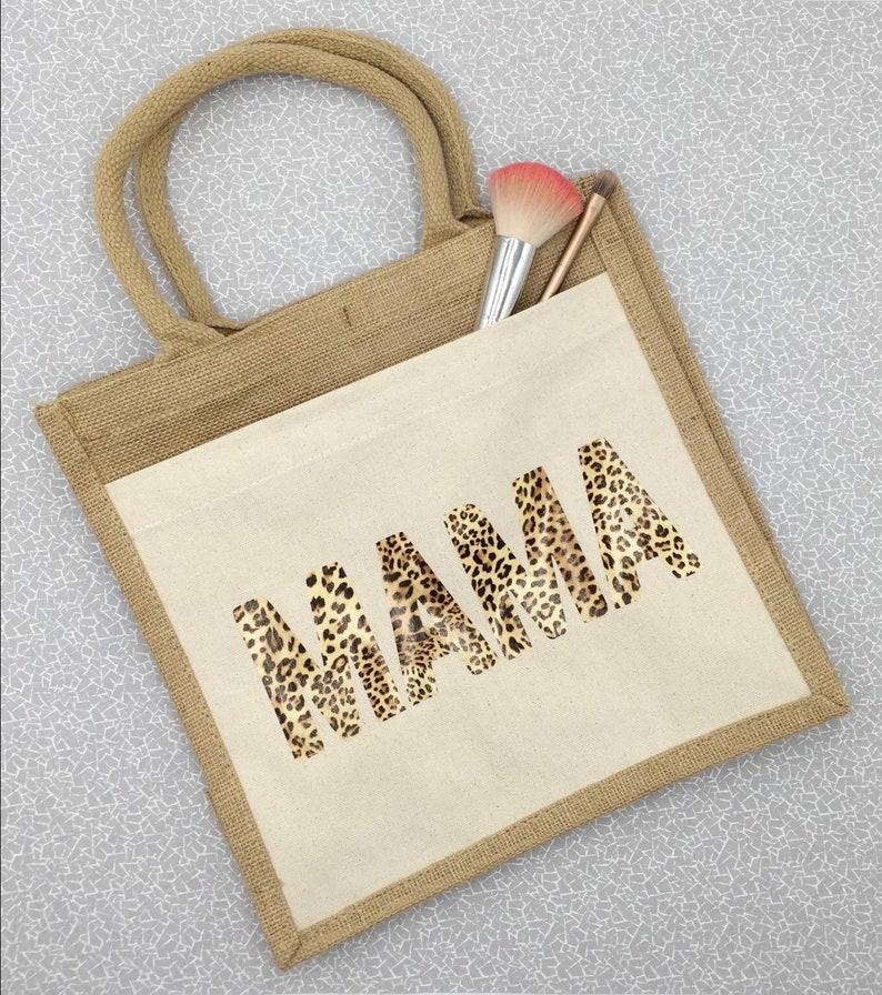 MAMA jute tote bag leopard print pocket tote bag gifts for image 0