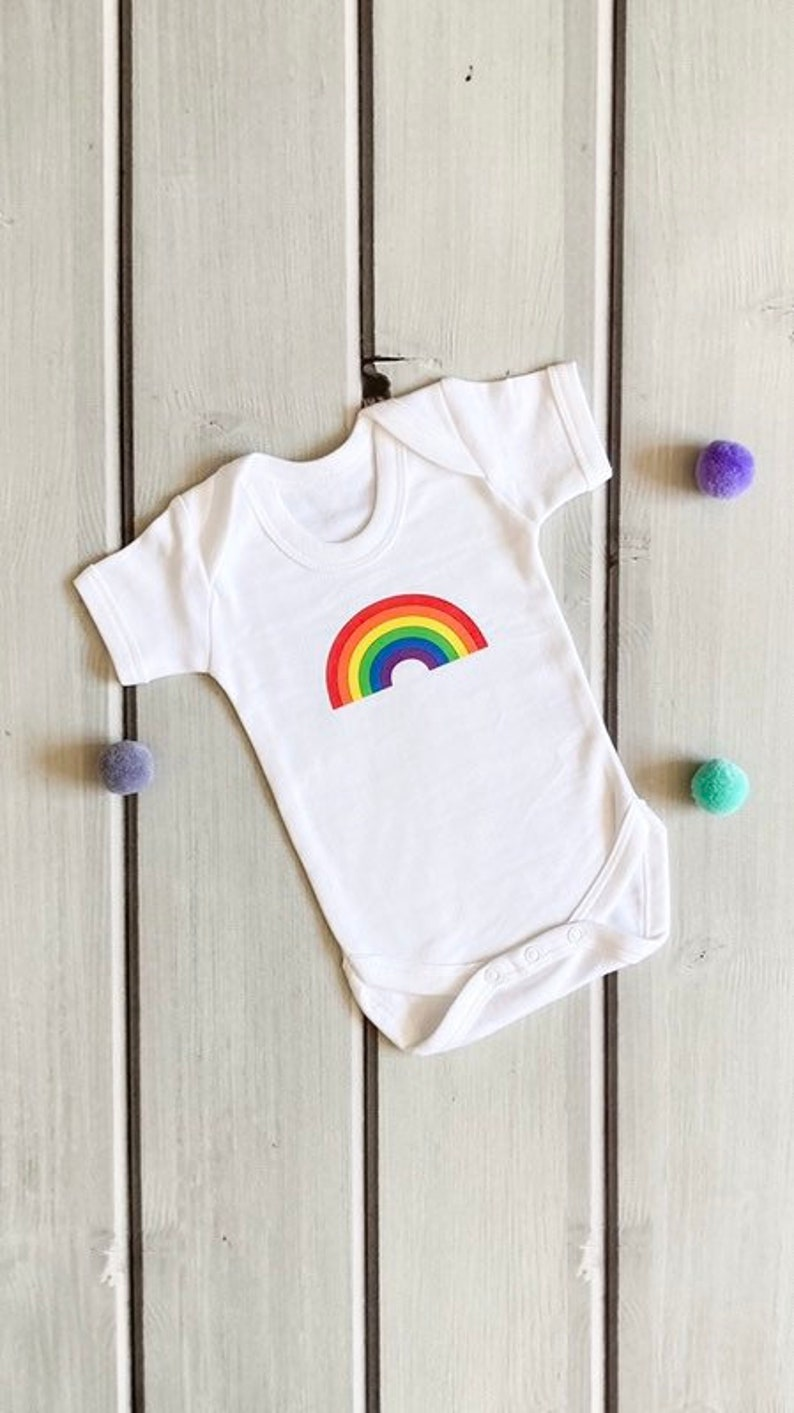 Rainbow baby body suit cute baby clothes rainbow sleepsuit image 0