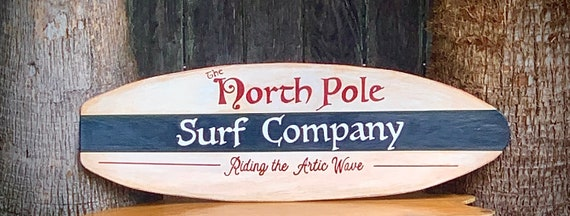 Christmas Sign North Pole Surfboard