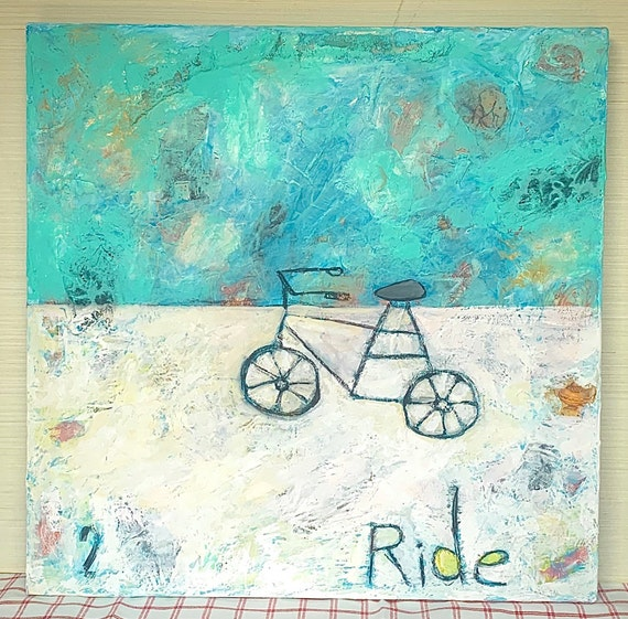 Ride - Original Mixed Media Bike (Bicycle) Acrylic Painting on Canvas - textured