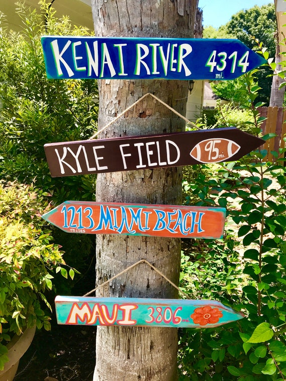 Directional Sign, Tropical Sign, Tiki Sign, Sign Post, Backyard Sign, Mile Marker Sign