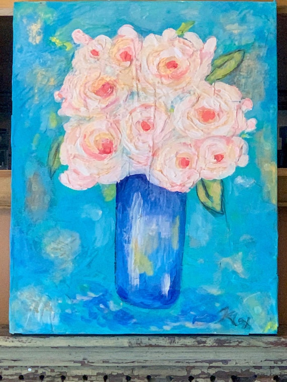 Floral Abstract Original Painting 16x20 Textured Acrylic on Canvas