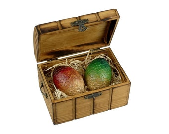Mystical DragonEggs Red & Green in Flamed Wooden Chest | Dragon Eggs in a wooden Box | Game of Thrones inspired