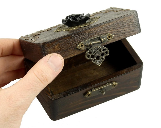 Small Mystical Wooden Chest with Black Rose | Casket | Box | Decoration