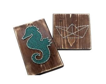Thread Art Seahorse | StringArt Sea Horse | Wall Decoration | Living decorations | Maritim