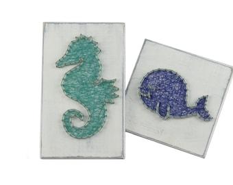Thread Art Seahorse and Whale | StringArt Sea Horse and Whale | Wall Decoration | Living decorations | Maritim