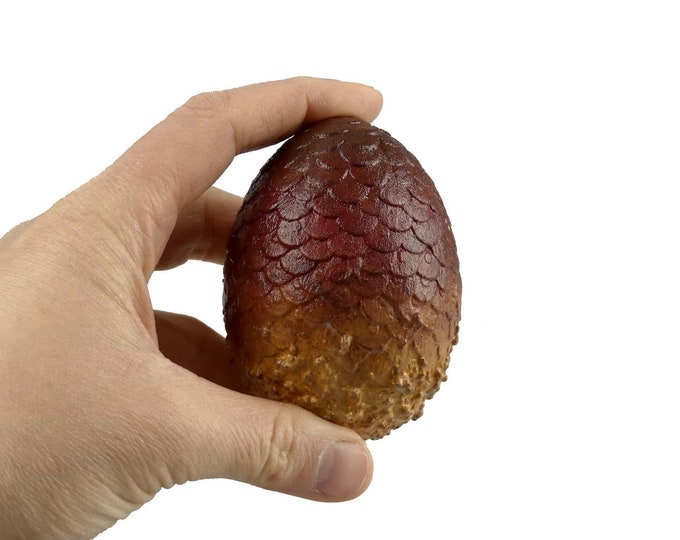 """Dragon Egg """"Drogon"""" 7.5cm tall red brown 
