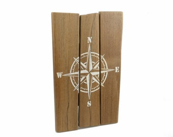 Maritime wood picture with compass rose made of real boatwood | Wall Decoration | Residential decoration