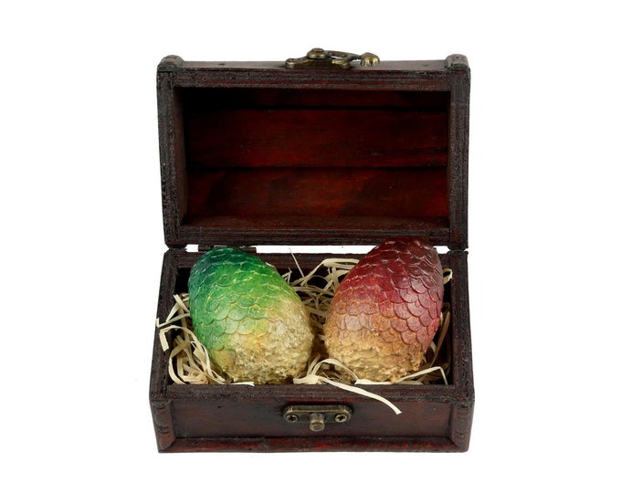 Mini DragonEggs Red & Green in Wooden Chest | Dragon Eggs in a wooden Box | Game of Thrones inspired