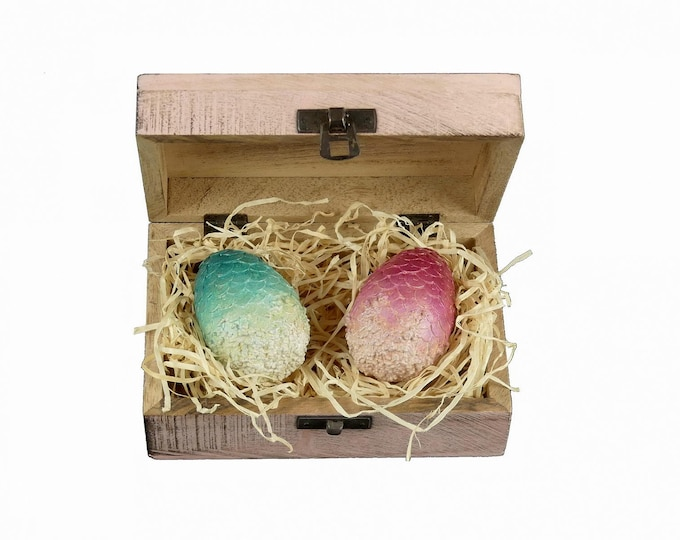 Mini DragonEggs pink & turquoise in wooden chest | Dragon Eggs in a wooden Box | Game of Thrones inspired