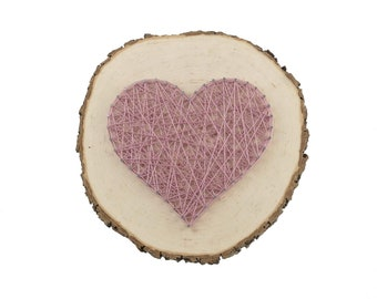 Gift Wedding | Heart on Tree Slice | Thread Art Heart | StringArt Heart | Love| Wall Decoration | Residential decoration