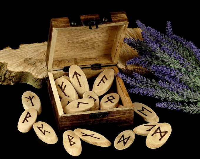 Runes Set in Wooden Box | older Futhark | Elder Futhark Runes in wooden box
