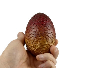 """Dragon Egg """"Drogon"""" 8.5cm tall red brown 