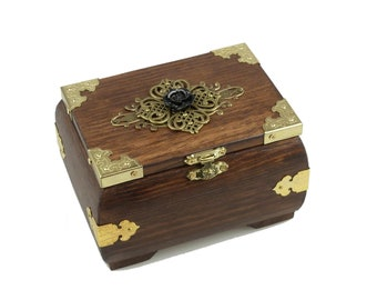 Mystical Wooden Chest with Ornaments and Black Rose | Casket | Box | Decoration