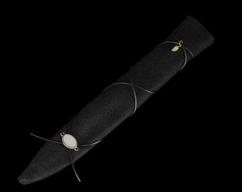 Magic wand bag black with black leather strap for SannyArt wands | Bag for Magic Wands