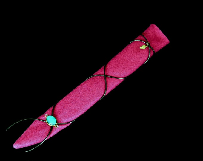 Magic wand bag pink with black leather strap for SannyArt wands | Bag for Magic Wands