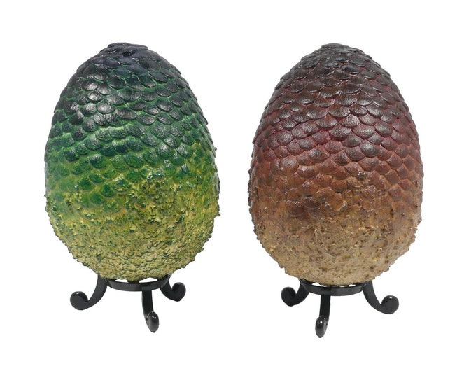 """Dragon Eggs """"Drogon & Rhaegal"""" 10.5 cm tall red and green 