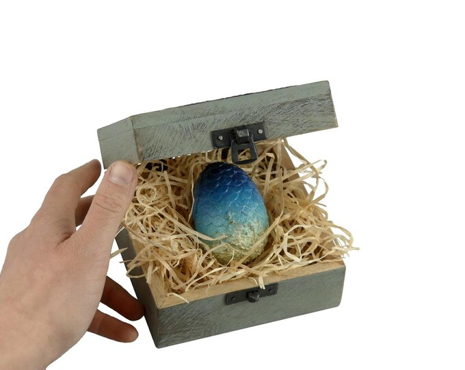 Mini Dragon Egg Blue in Wooden Chest | Dragon Egg in a wooden Box | Game of Thrones inspired