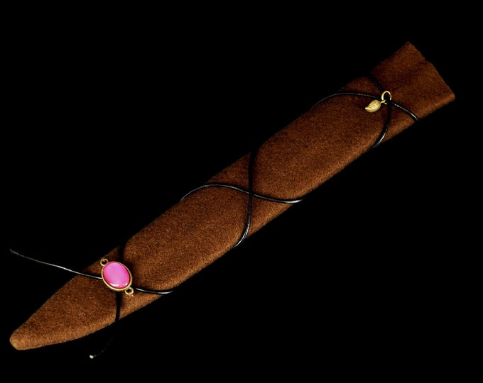 Magic wand bag brown with black leather strap for SannyArt wands | Bag for Magic Wands