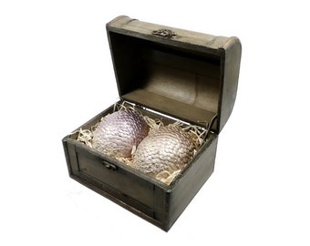 Mystical Dragon Eggs in Wooden Chest | Dragon Eggs in a wooden Box | Game of Thrones inspired