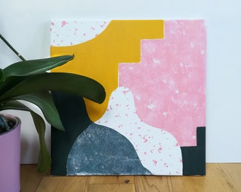 Original  Colourful Abstract Acrylic Painting, Square Canvas Home Interior
