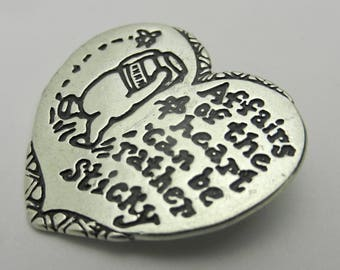 """Disney Van Dell Sterling Silver Winnie the Pooh Heart """"Affairs of the Heart..."""" Pin"""