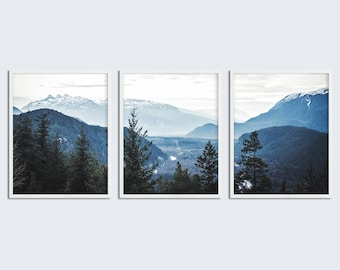 Set of 3 Piece Wall Art Navy Blue Mountain Decor Printable Set of 3 Printable Wall Art Scandinavian Modern Print Set of 3 Prints Navy Blue & 3 piece wall art | Etsy