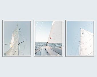 Set of 3 Yacht Photography Print Sailing Photo Sail Photography Sailboat  Sail Print Sailing Photo Boat Nautical Photography Wall Art 33a5a37e3f42