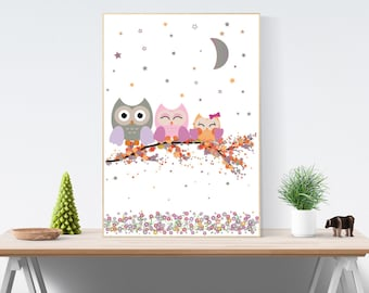 Instant Digital Download | Cute owls branch/autumn leaves starry night flowers Print | You Print at Home | Kids Room Nursery Wall Art Decor