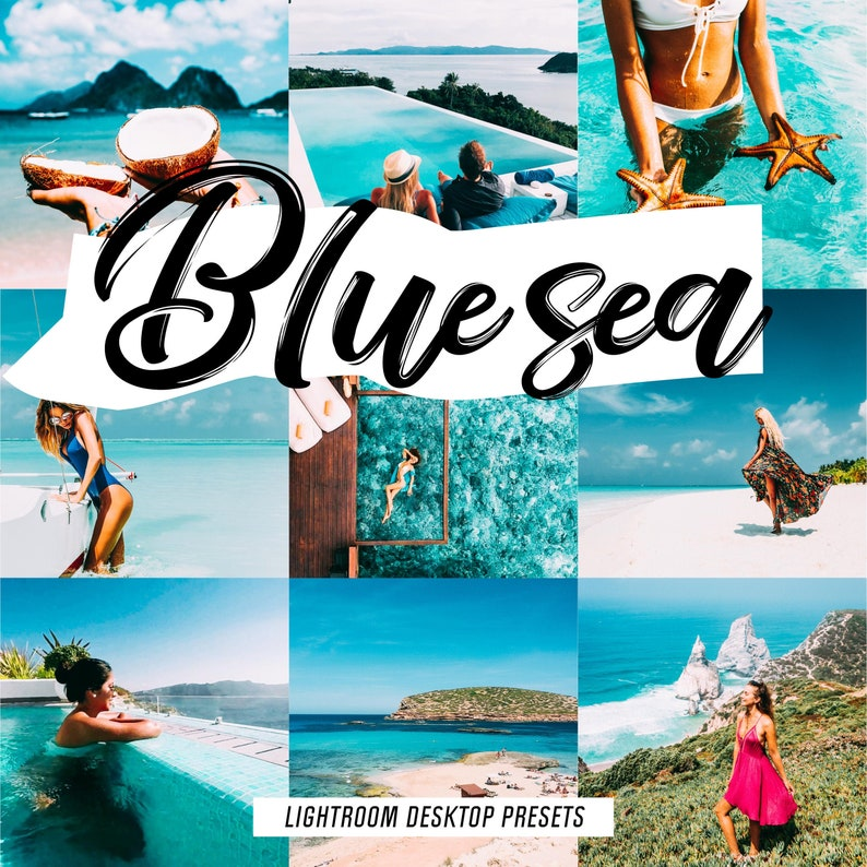 2 Lightroom presets BLUE SEA blogger instagram presets, travel tropical  beach summer, ocean presets