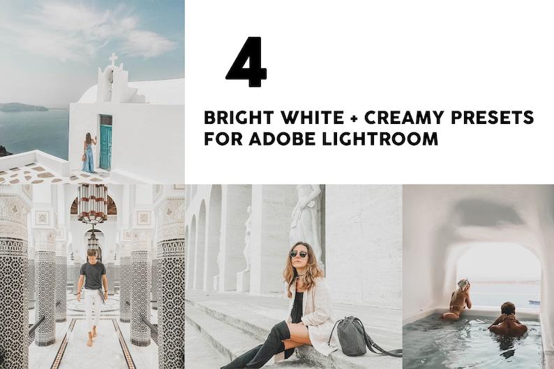 4 Lightroom Presets, Instagram presets BRIGHT WHITE, Summer presets,  Blogger presets, Travel Lifestyle presets, beach presets, Santorini