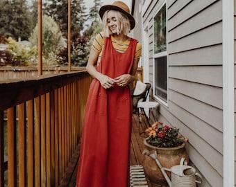 1990's Red Corduroy Straight Dress