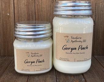 Georgia Peach Mason Jar-Farmhouse Candle-Mason Jar Candle-Soy Candle-Vintage Candle