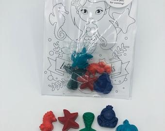 Mermaid Birthday  Under the Sea Crayons  Gifts Under 10  Kids Gift Ideas  Under the Sea Party Favor  Ocean Crayons