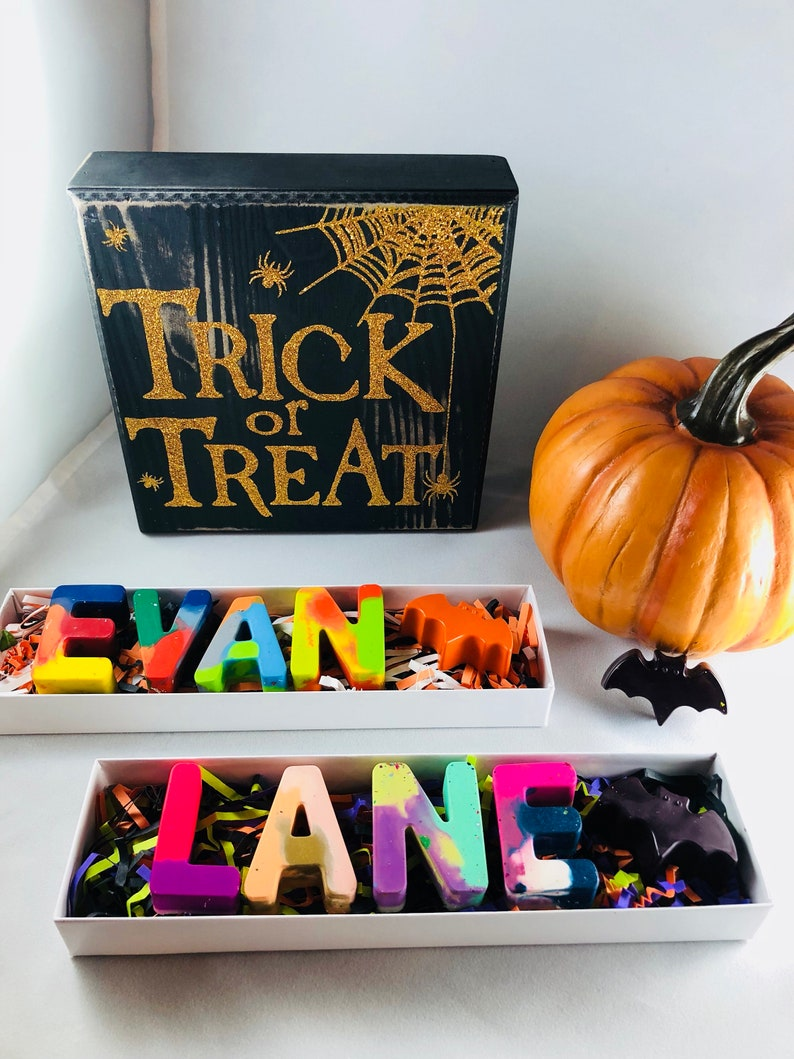 Halloween Classroom Halloween Favors Trick or Treat Favors Kids Halloween Gift Personalized Kids Halloween Crayon Names