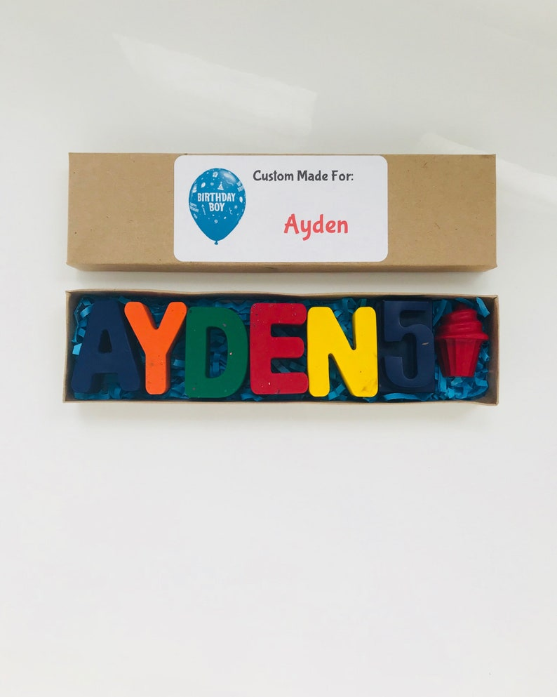 Personalized NAME Crayons in gift box sensory toys kids birthday crayons birthday gift for kids