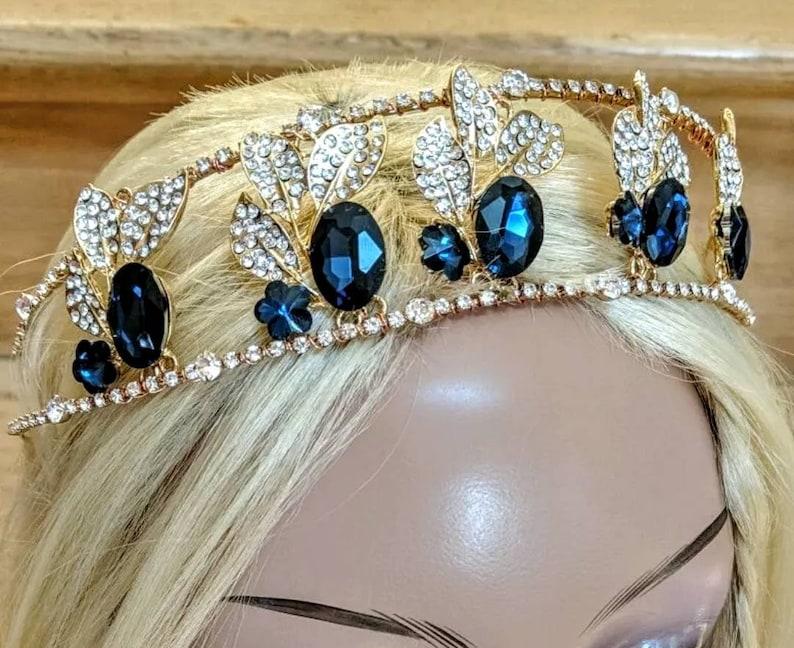 Anne Boleyn Tudors Sapphire Rhinestone Gold Tiara Crown Headband Diadem Antique Vintage Look perfect Christmas Wedding Gift fit for a Queen