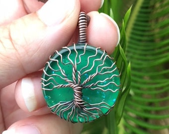 Copper Tree of Life Pendant on Green Handpainted Glass