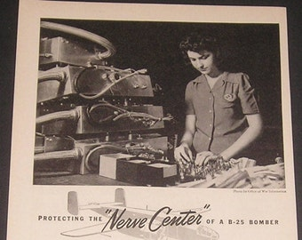 WWII Woman Factory Worker, Vintage 1943 Print Ad, Protecting The Nerve Center of a B-25 Bomber, American Metal Hose Company