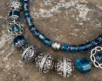 Czech Cathedral Glass in Turquoise and Antique Silver Filigree Floral Beads Create 2-Strand Necklace with Faceted Swarovski Crystals
