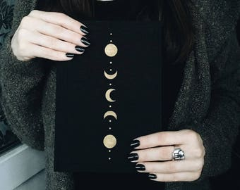 Notebook decorated with moon phases, fabric covered journal A5