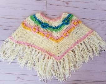 Girls poncho, baby poncho, flower poncho, fringe poncho, little girls flower poncho, spring flower poncho, infant poncho, infant shawl