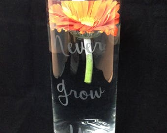 Never Grow Up Vase Clear Glass Saying Funny Gift Birthday Party