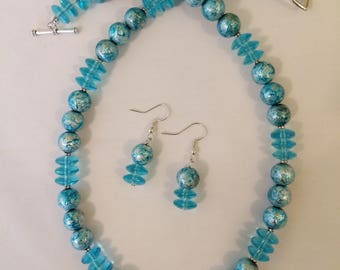 Aqua Painted Glass Bead Necklace and Earrings