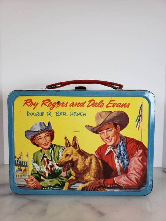 Vintage 1957 Roy Rogers and Dale Evans metal lunchbox || Classic Character Memorabilia Souvenir Collectible