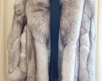 ea51d9f56991 Real SAGA FOX Crystal Silver Fox Fur Coat Jacket.